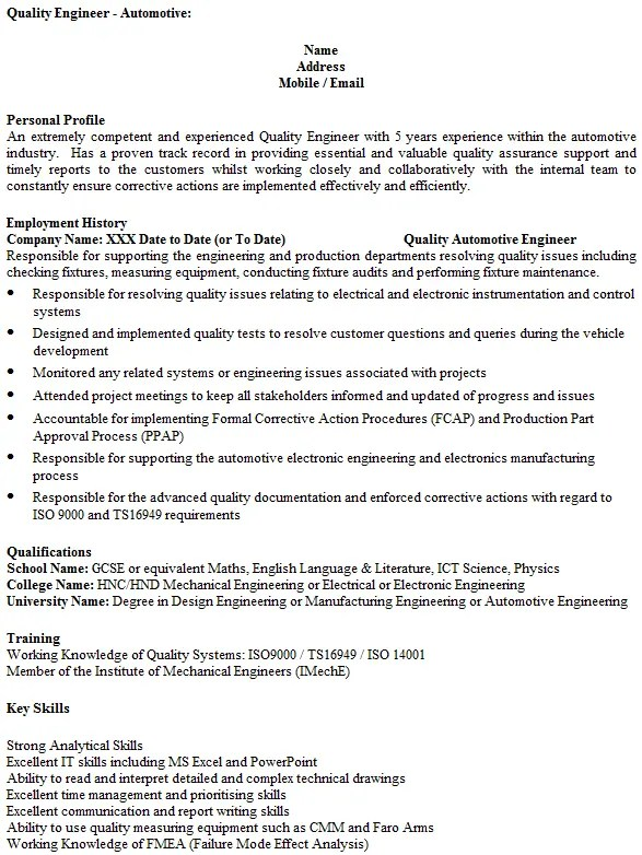 quality engineer cv exle icover org uk