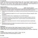 Quality Engineer CV Example