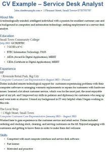 service desk analyst cv example