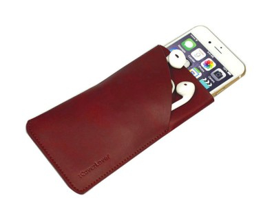 iCoverLover Reddish Brown Real Top-Grain Leather iPhone 6, 6S & 7 Headphones Pouch 4