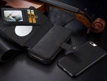 Black Genuine Leather Zipper Wallet Detachable iPhone 7 PLUS Case 1
