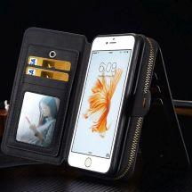 Black Genuine Leather Zipper Wallet Detachable iPhone 7 PLUS Case