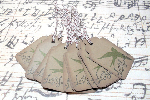 12pc Love Song Soaring Dove Mini Kraft Paper Distressed Tags with Bakers Twine