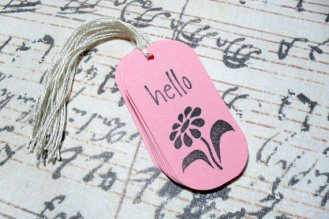 12pc Pink Hello Flower Mini Tags