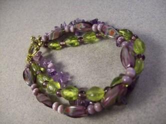 3 strand amethyst chunky bracelet