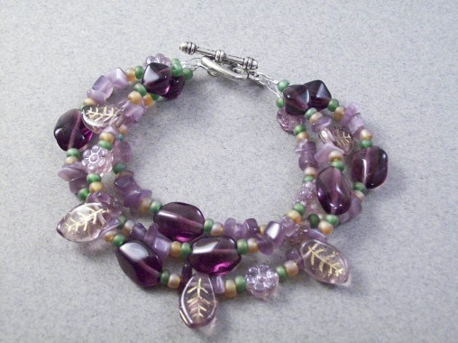 3 strand czech amethyst bracelet