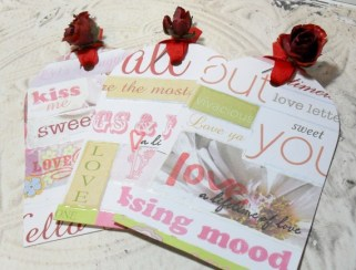 3pc Extra Large Altered Dimensional Collage Chic Red Rose Ribbon Tied Tags