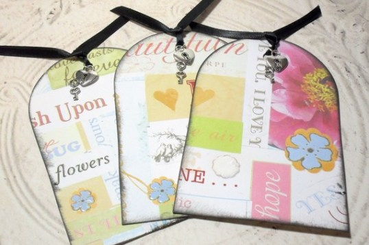 3pc Extra Large Lock and Key Charmed Distressed Ribbon Tied Dimensional Collage Chic Tags