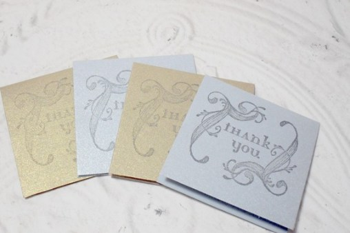4 pc. Metallic Stamped Swirl Thank You Mini Cards - 2x2