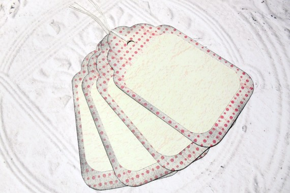 4pc Large Ivory Red Polka Dots Rustic Distressed Gift Tags
