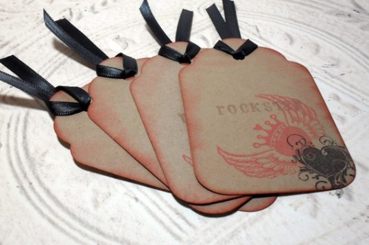 4pc Large Kraft Distressed RockStar Heart Tags with Black Ribbon