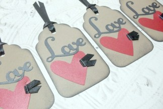 4pc Large Kraft Metallic Red Heart Love Distressed Tags with Black Ribbon