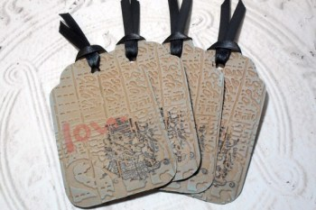 4pc Large Kraft Ragged Love Embossed Distressed Stamped Ribbon Tied Tags