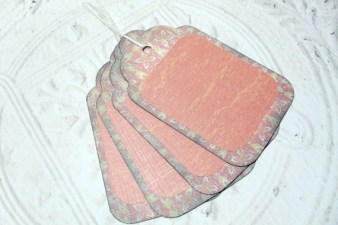 4pc Large Red Yellow Flower Rustic Distressed Gift Tags