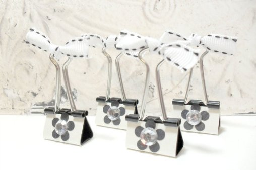 4pc Metallic Black and White Photo Holder Binder Clips