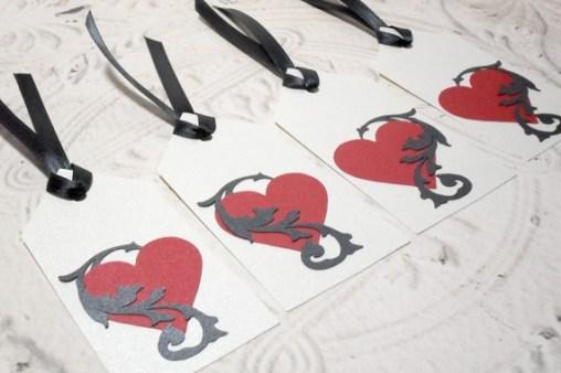 4pc Metallic Entangled Heart Black Ribbon Tied Tags