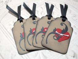 4pc Mini Heart Tied Kraft Paper Distressed Tags with Black Ribbon