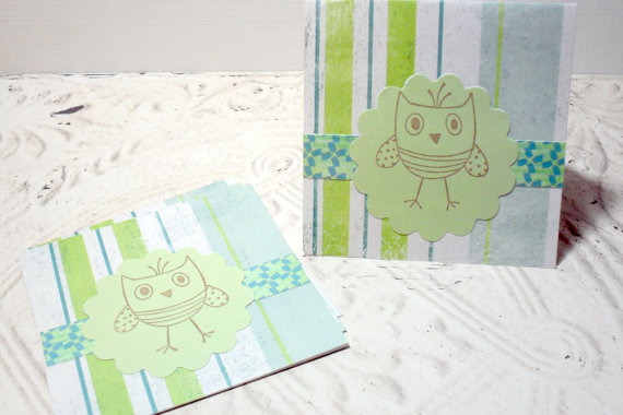 4pc Owl Scallop Striped Mini Card - 3x3