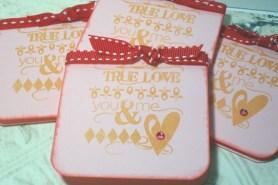 4pc Pink True Love Jeweled Distressed Ribbon Tied Cards - 3x3