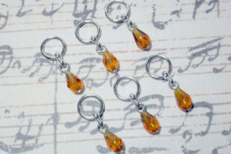6pc Brown Glass Beaded Stitch Markers