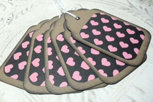 6pc Large Kraft Paper Black Pink Heart Distressed Gift Tags