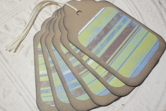 6pc Large Kraft Paper Green Blue Brown Stripe Distressed Gift Tags