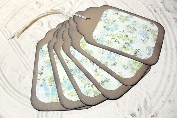 6pc Large Kraft Paper Green Blue Rustic Flower Distressed Gift Tags