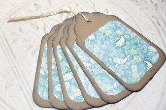 6pc Large Kraft Paper Green Blue Rustic Flower Paisley Distressed Gift Tags