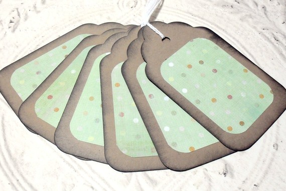6pc Large Kraft Paper Green Rustic Distressed Gift Tags