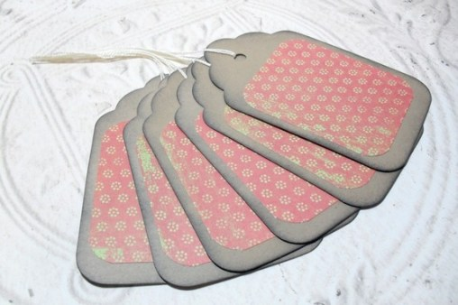 6pc Large Kraft Paper Red Green Rustic Flower Distressed Gift Tags