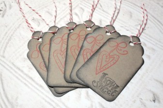 6pc Mini Hanging Heart Sweet Stamped Distressed Tags with Bakers Twine