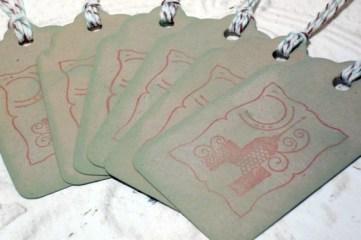 6pc Mini Taj Mahal Stamped Distressed Tags with Bakers Twine