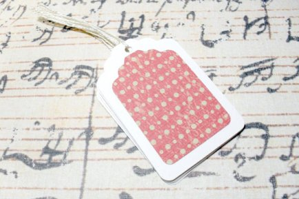 6pc White and Red Green Polka Dot Pattern Mini Tags