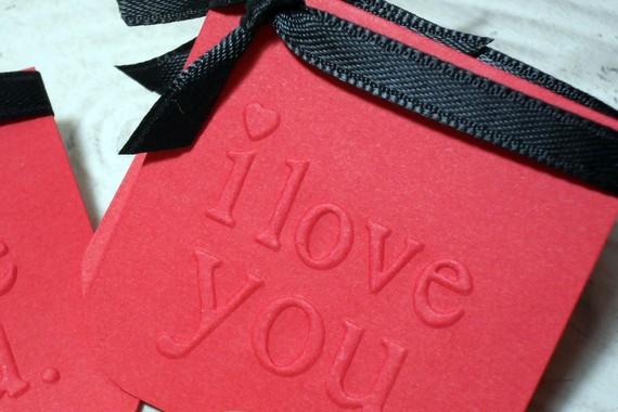 8 pc Embossed I Love You Black Ribbon Tied Mini Cards