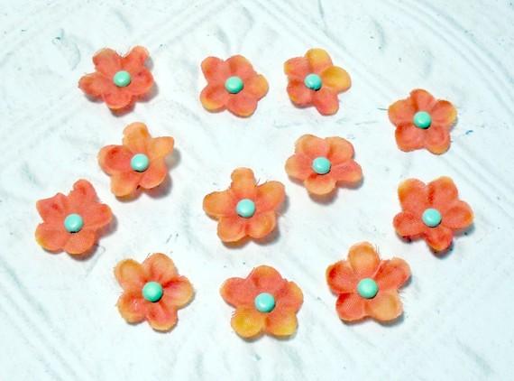 Artificial Silk Flowers - 12 pc Craft Embellishment