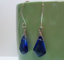 Blue Briolette Wire Wrapped Drop Earrings