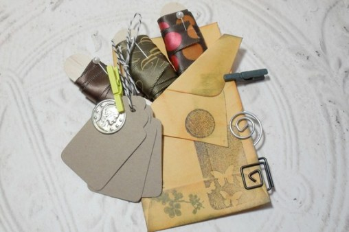 Brown Embellish Pack - 3 Yards of Ribbon Kraft Tags Bakers Twine Spiral Clips Mini Clothes Pin Set
