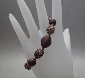 Copper Acrylic Filigree Beaded Bracelet
