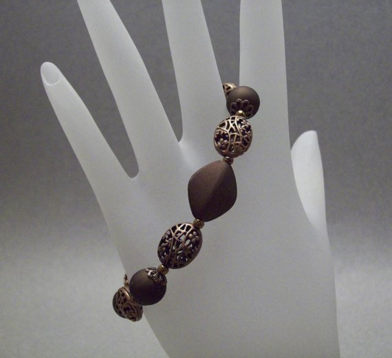 Copper Acrylic Filigree Beaded Bracelet