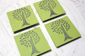 Eco-Friendly 4 pc Tree Stamped Mini Cards - 2x2
