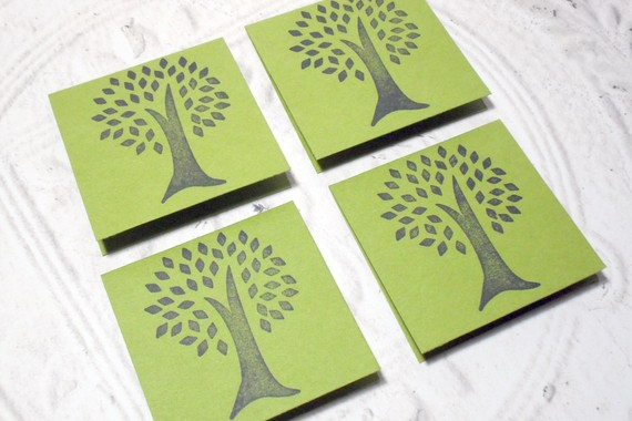 Eco-Friendly 4 pc Tree Stamped Mini Cards - 2x2