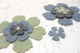 Large Pearl Top Felt Flowers - Green Black and Blue