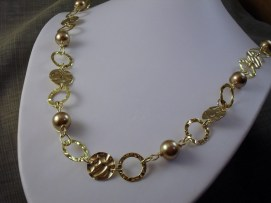 Pearl textured coin spiral wrapped necklace