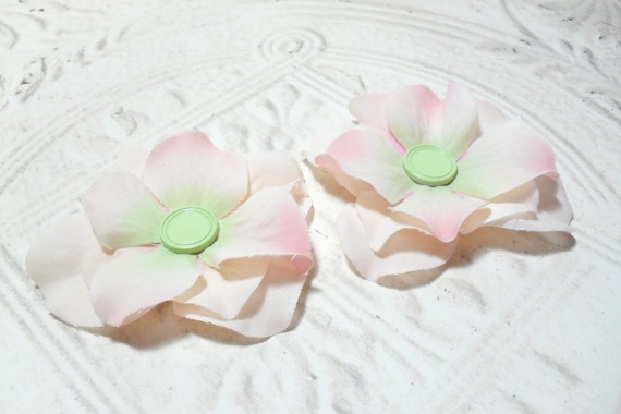 Set of Two Pink Artificial Silk Flower Brad Centered Craft Embellishment