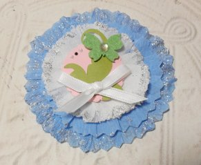 Shabby Chic Blue and White Butterfly Glittered Paper Rosette