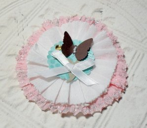 Shabby Chic Pink and White Butterfly Glittered Paper Rosette