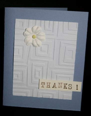 Square embossed thanks card-8541