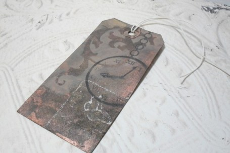 Time Flies Distressed Altered Luggage Style Tag