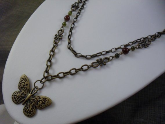 Wind Beneath My Wings Glass Antique Gold Butterfly Necklace