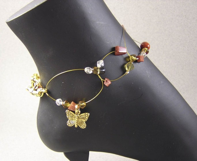 Wire butterfly floating anklet